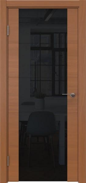 Межкомнатная дверь ZM021 (шпон анегри / триплекс черный)
