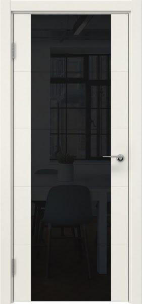 Межкомнатная дверь ZM021 (эмаль слоновая кость / триплекс черный)