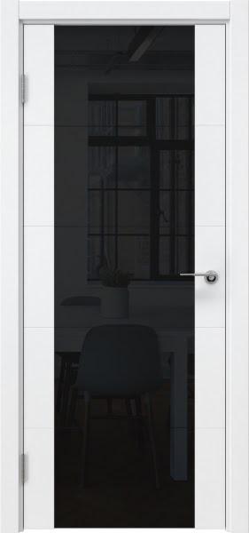 Межкомнатная дверь ZM021 (эмаль белая / триплекс черный)