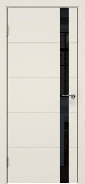 Межкомнатная дверь ZM033 (эмаль слоновая кость, лакобель черный)