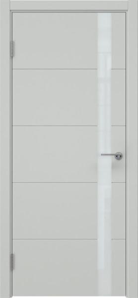 Межкомнатная дверь ZM033 (эмаль светло-серая, лакобель белый)