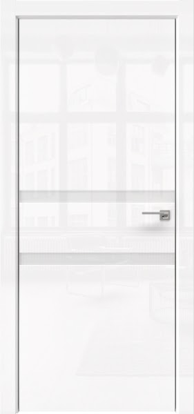 Межкомнатная дверь ZM034 (белая глянцевая, лакобель белый)