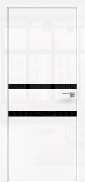 Межкомнатная дверь ZM034 (белая глянцевая, лакобель черный)