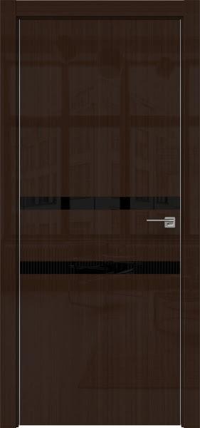 Межкомнатная дверь ZM034 (венге глянцевая, лакобель черный)
