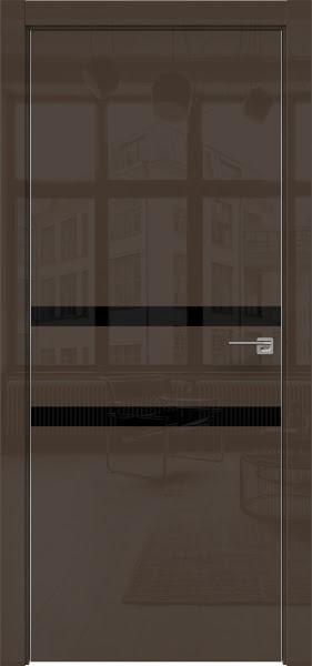 Межкомнатная дверь ZM034 (шоколад глянцевая, лакобель черный)