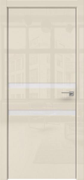 Межкомнатная дверь ZM034 (ваниль глянцевая, лакобель белый)