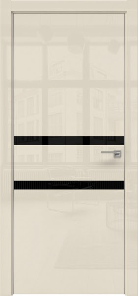 Межкомнатная дверь ZM034 (ваниль глянцевая, лакобель черный)