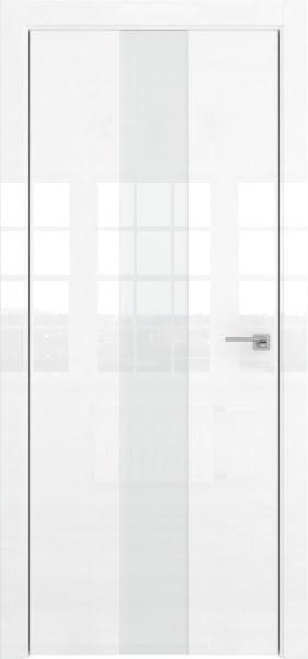 Межкомнатная дверь ZM035 (белая глянцевая, лакобель белый)