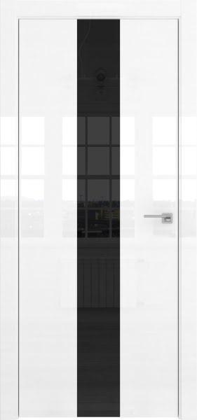 Межкомнатная дверь ZM035 (белая глянцевая, лакобель черный)