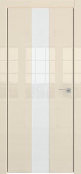Межкомнатная дверь ZM035 (ваниль глянцевая, лакобель белый)