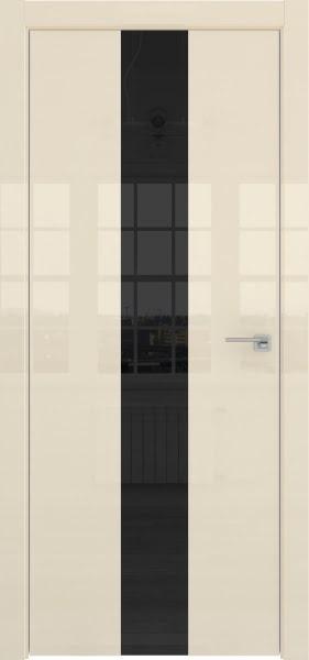 Межкомнатная дверь ZM035 (ваниль глянцевая, лакобель черный)