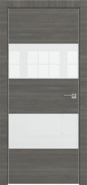 Межкомнатная дверь ZM036 (экошпон ольха, лакобель белый)