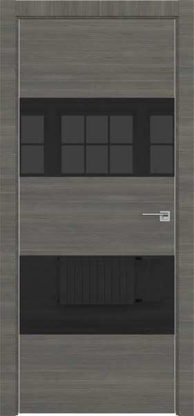 Межкомнатная дверь ZM036 (экошпон ольха, лакобель черный)