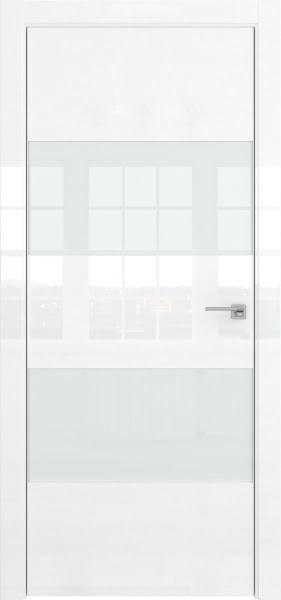 Межкомнатная дверь ZM036 (белая глянцевая, лакобель белый)