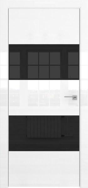 Межкомнатная дверь ZM036 (белая глянцевая, лакобель черный)