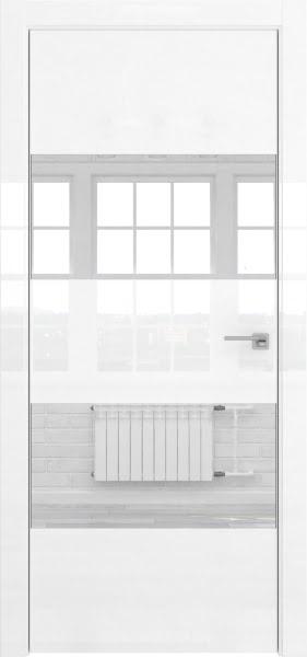 Межкомнатная дверь ZM036 (белая глянцевая, зеркало)