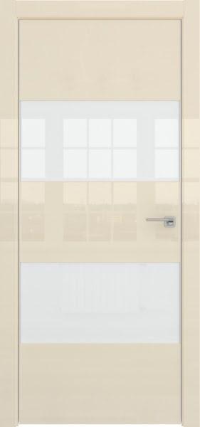 Межкомнатная дверь ZM036 (ваниль глянцевая, лакобель белый)