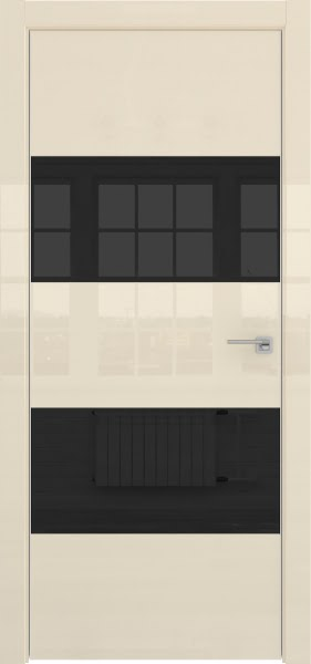 Межкомнатная дверь ZM036 (ваниль глянцевая, лакобель черный)