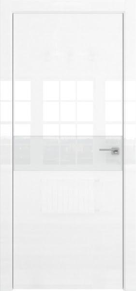 Межкомнатная дверь ZM037 (белая глянцевая, лакобель белый)