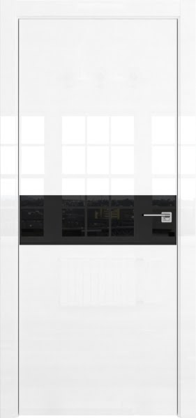 Межкомнатная дверь ZM037 (белая глянцевая, лакобель черный)