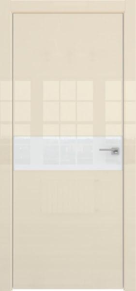 Межкомнатная дверь ZM037 (ваниль глянцевая, лакобель белый)