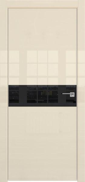 Межкомнатная дверь ZM037 (ваниль глянцевая, лакобель черный)