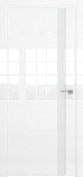 Межкомнатная дверь ZM038 (белая глянцевая, лакобель белый)