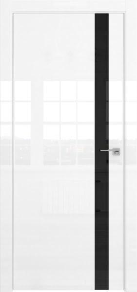 Межкомнатная дверь ZM038 (белая глянцевая, лакобель черный)