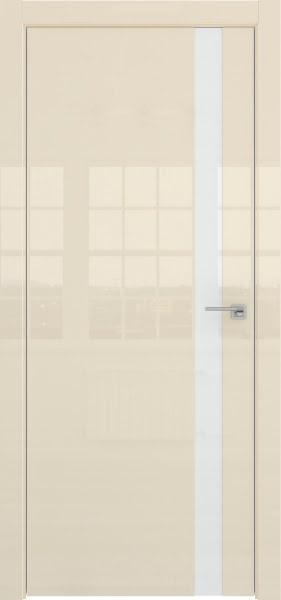 Межкомнатная дверь ZM038 (ваниль глянцевая, лакобель белый)