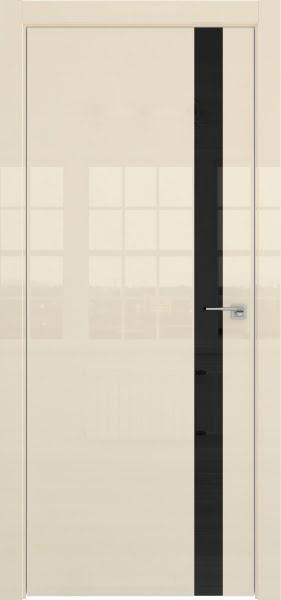Межкомнатная дверь ZM038 (ваниль глянцевая, лакобель черный)