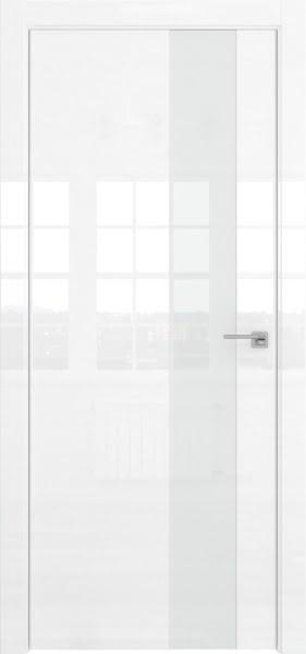 Межкомнатная дверь ZM039 (белая глянцевая, лакобель белый)