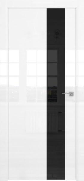 Межкомнатная дверь ZM039 (белая глянцевая, лакобель черный)
