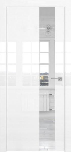 Межкомнатная дверь ZM039 (белая глянцевая, зеркало)