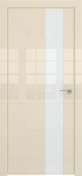 Межкомнатная дверь ZM039 (ваниль глянцевая, лакобель белый)