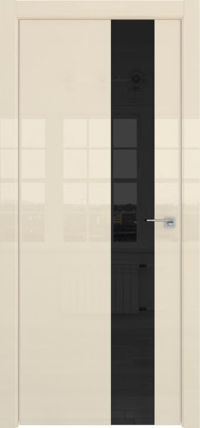 Межкомнатная дверь ZM039 (ваниль глянцевая, лакобель черный)