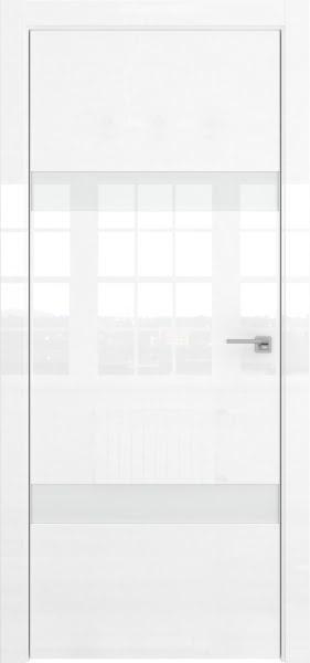 Межкомнатная дверь ZM040 (белая глянцевая, лакобель белый)