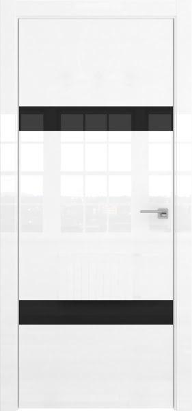 Межкомнатная дверь ZM040 (белая глянцевая, лакобель черный)