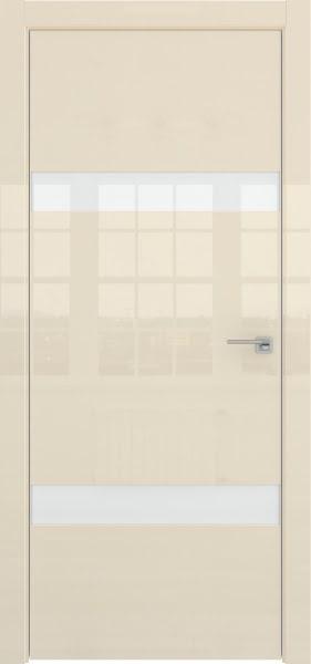 Межкомнатная дверь ZM040 (ваниль глянцевая, лакобель белый)