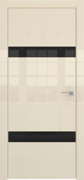 Межкомнатная дверь ZM040 (ваниль глянцевая, лакобель черный)