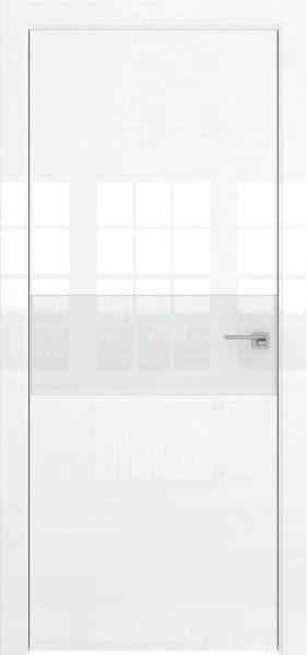 Межкомнатная дверь ZM041 (белая глянцевая, лакобель белый)