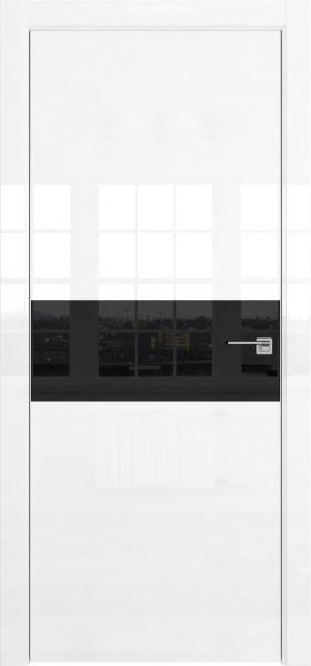 Межкомнатная дверь ZM041 (белая глянцевая, лакобель черный)