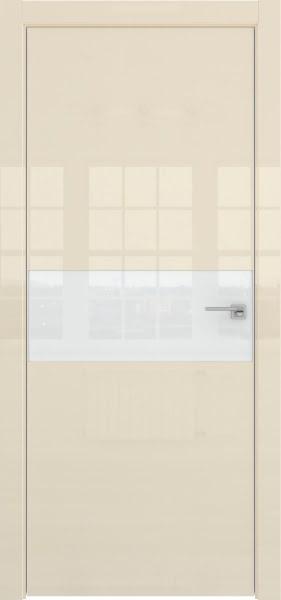 Межкомнатная дверь ZM041 (ваниль глянцевая, лакобель белый)