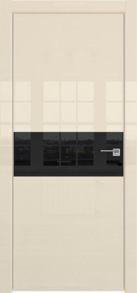 Межкомнатная дверь ZM041 (ваниль глянцевая, лакобель черный)
