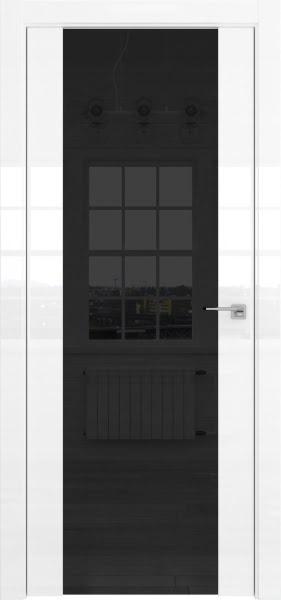 Межкомнатная дверь ZM045 (белая глянцевая, триплекс черный)