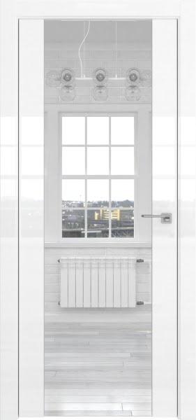 Межкомнатная дверь ZM045 (белая глянцевая, зеркало двухстороннее)