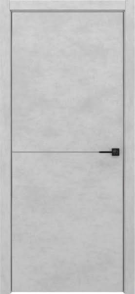 Межкомнатная дверь ZM046 (экошпон «бетон светлый», алюминиевая кромка)