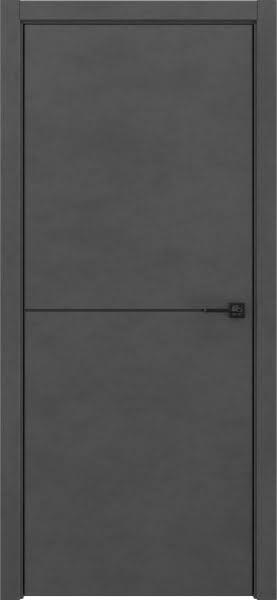 Межкомнатная дверь ZM046 (экошпон «бетон темный», алюминиевая кромка черная)