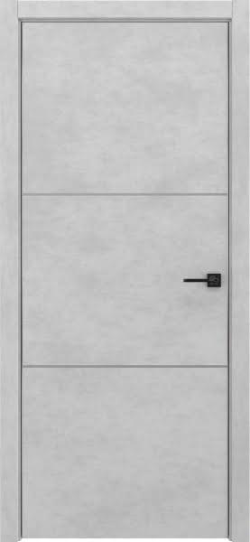 Межкомнатная дверь ZM047 (экошпон «бетон светлый», алюминиевая кромка)