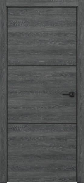 Межкомнатная дверь ZM047 (экошпон «дуб темный», алюминиевая кромка черная)