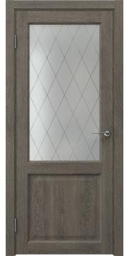 Межкомнатная дверь FK004 (экошпон «серый дуб» / матовое стекло ромб) — 0257